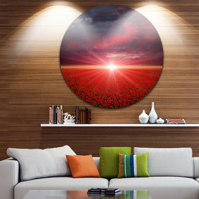 Design Art Red Poppies Field at Sunset Landscape Metal Circle Wall Art