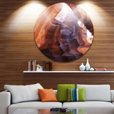 Design Art Canyon Antelope with Purple Sunlight Landscape Metal Circle Wall Art