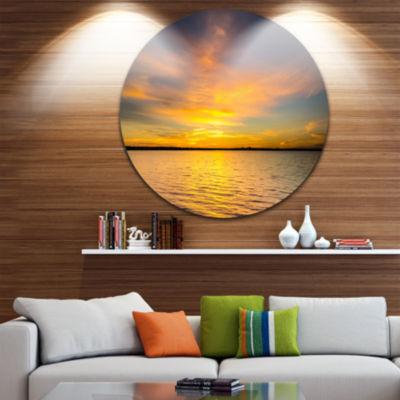 Design Art Yellow Sunrise Light Hitting Waters Large Seashore Metal Circle Wall Art