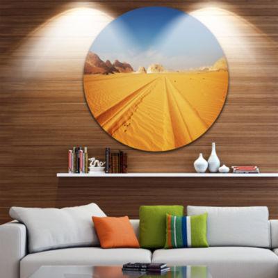 Design Art Road in White Desert Egypt Landscape Metal Circle Wall Art