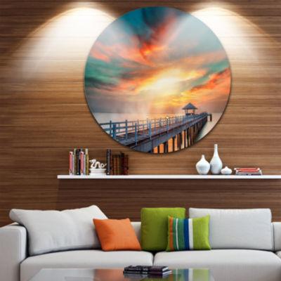 Design Art Fascinating Sky and Wooden Bridge PierSeascape Metal Circle Wall Art