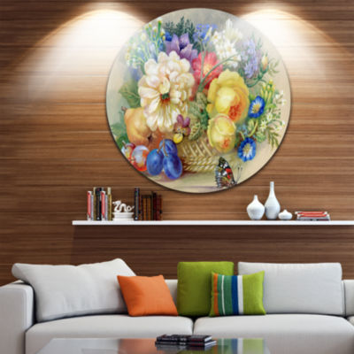 Design Art Bunch of Flowers and Fruits Ultra Glossy Floral Metal Circle Wall Art