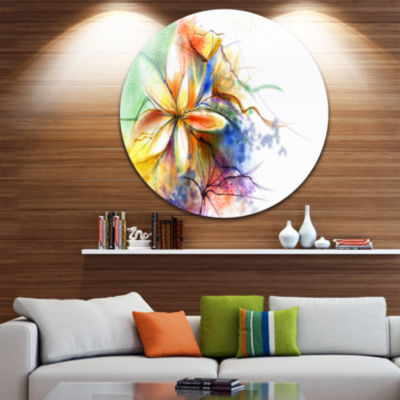 Design Art Abstract Multi color Flower Fusion Large Flower Metal Circle Wall Art