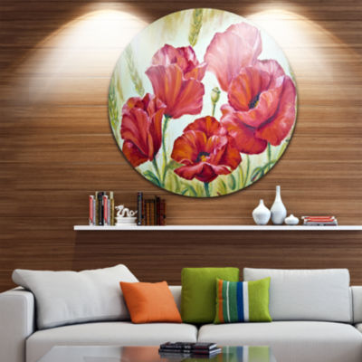 Design Art Poppies in Wheat Ultra Glossy Floral Metal Circle Wall Art
