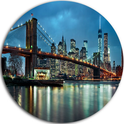 Design Art Brooklyn Bridge and Skyscrapers Ultra Glossy Cityscape Circle Wall Art