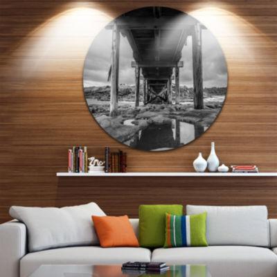 Design Art Black and White Large Wooden Bridge SeaBridge Metal Circle Wall Art