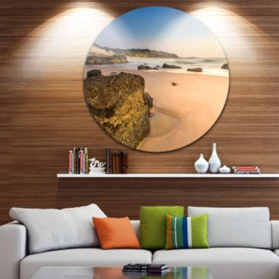 Design Art Beautiful Rocky Seashore at Norah HeadLarge Seashore Metal Circle Wall Art