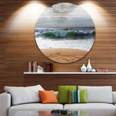 Design Art Large Blue Waves and Blue Sky Large Seashore Metal Circle Wall Art
