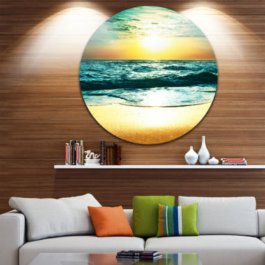 Design Art Amazing Sunset Reflecting in Blue Sea Seascape Metal Circle Wall Art