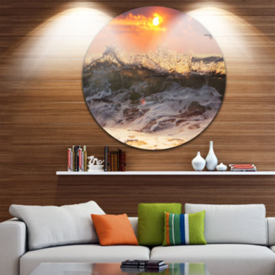 Design Art Sunrise and Roaring Ocean Waves Seascape Metal Circle Wall Art