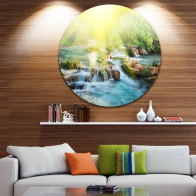 Design Art Water Cascade under Shiny Sun Beach Metal Circle Wall Art