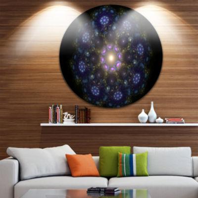 Design Art Blue Abstract Fractal Mandala Flower Large Floral Metal Circle Wall Art