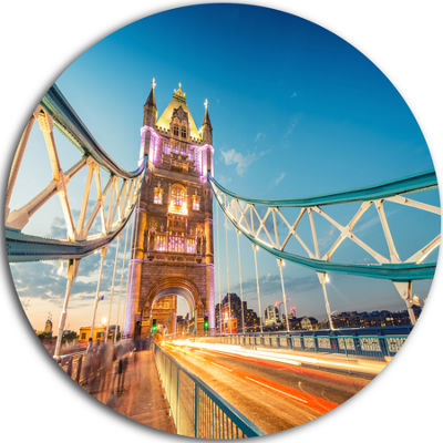 Design Art Beautiful View of Tower Bridge London Ultra Glossy Cityscape Metal Circle Wall Art