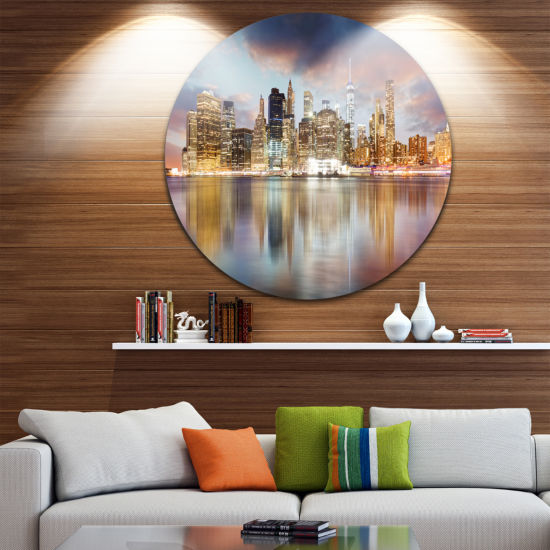 Design Art New York Skyline at Sunrise with Reflection. Ultra Glossy Cityscape Circle Wall Art