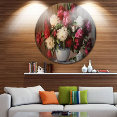 Design Art Bouquet of Blooming Peonies Ultra Glossy Floral Metal Circle Wall Art