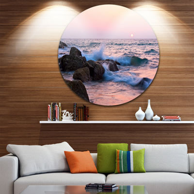 Design Art Rocky Coast with Foam Waves Large Seashore Metal Circle Wall Art