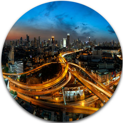 Design Art Illuminated Highway in Bangkok Ultra Glossy Cityscape Circle Wall Art