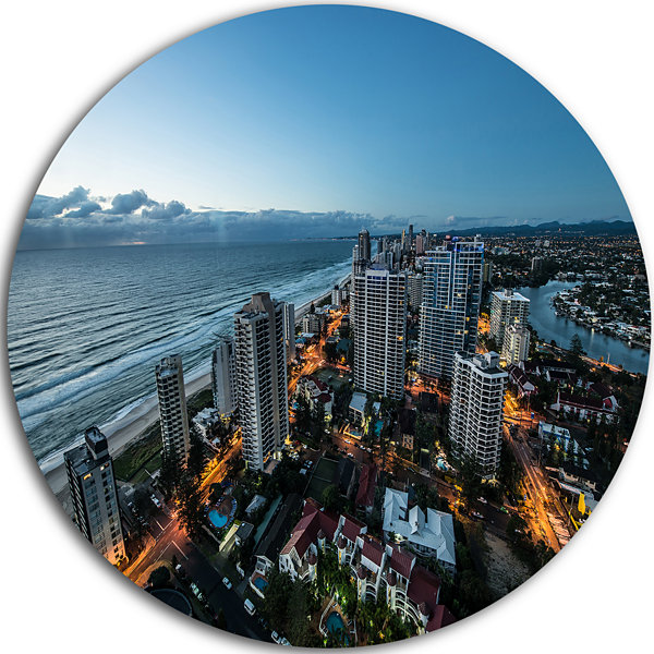 Design Art Brisbane Skyscrapers and Sea Aerial View Cityscape Metal Circle Wall Art