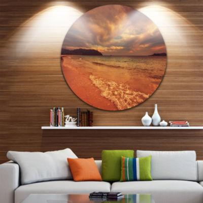 Design Art Brown Serene Tropical Beach Large Seashore Metal Circle Wall Art