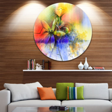 Design Art Abstract Colorful Flower Fusion Large Flower Metal Circle Wall Art