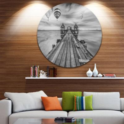 Design Art Wood Bridge in Port between Sunrise SeaBridge Metal Circle Wall Art