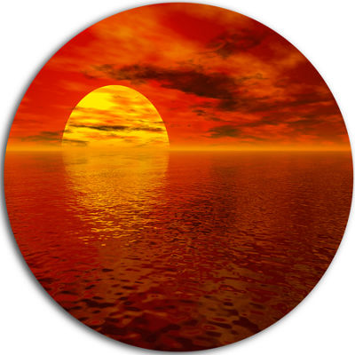 Design Art Sun Falling to Yellow Ocean Large Seashore Metal Circle Wall Art