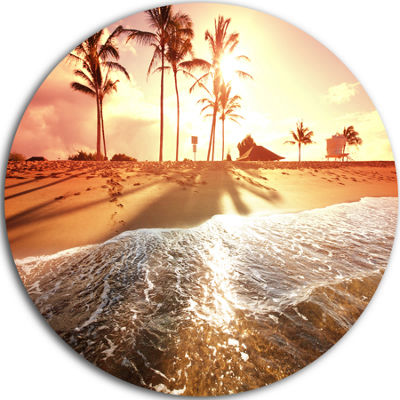 Design Art Colorful Tropical Beach with Palms Beach Metal Circle Wall Art