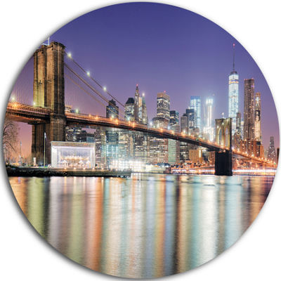 Design Art New York City with Freedom Tower UltraGlossy Cityscape Metal Circle Wall Art
