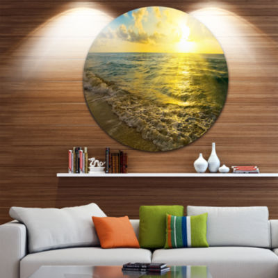 Design Art Colorful Sunset Reflecting in Waters Seascape Metal Circle Wall Art