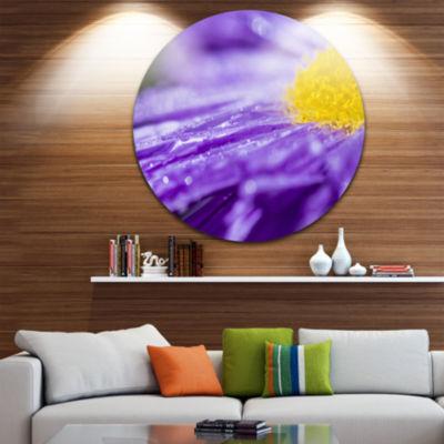 Design Art Large Violet Flower Petal Close up Large Flower Metal Circle Wall Art