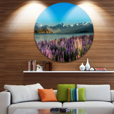 Design Art Incredible Mountains Waters and FlowersLandscape Metal Circle Wall Art