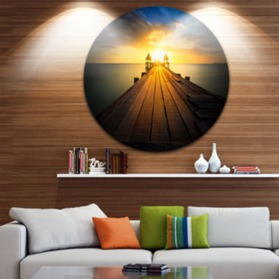 Design Art Massive Wood Pier to Sun at Evening Pier Seascape Metal Circle Wall Art