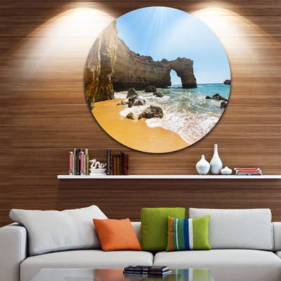 Design Art Wide Portugal Beach with White Waters Beach Metal Circle Wall Art