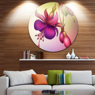 Design Art Fuchsia Flowers with Green Leaves UltraGlossy Floral Metal Circle Wall Art