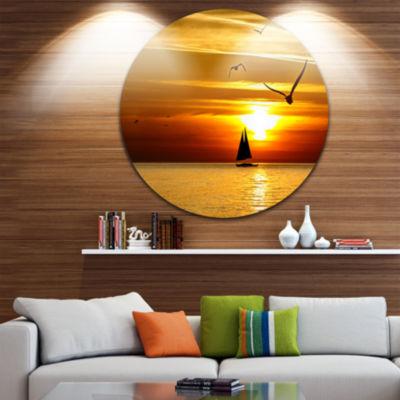 Design Art Bright Yellow Beach with Birds Large Seashore Metal Circle Wall Art