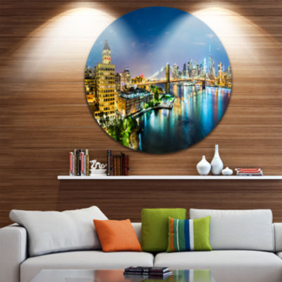 Design Art Colorful New York City Panoramic View Ultra Glossy Cityscape Metal Circle Wall Art