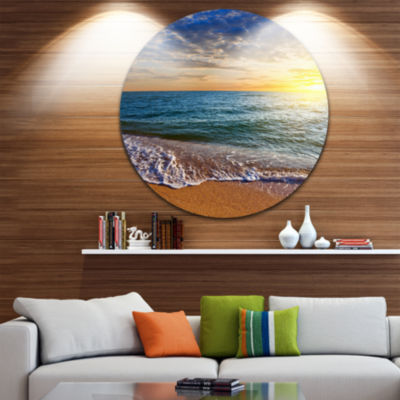 Design Art Layers of Colors on Sunrise Beach Seascape Metal Circle Wall Art