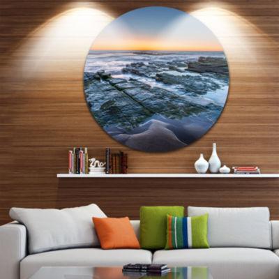 Design Art Sunrise Over Wide Sydney Ocean Large Seashore Metal Circle Wall Art