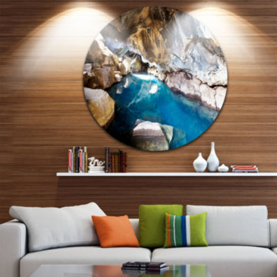 Design Art Cave with Geothermal Hot Water Beach Metal Circle Wall Art