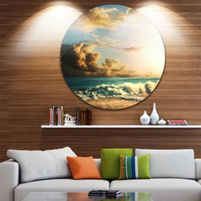 Design Art Green Sea Beach under Cloudy Sky BeachMetal Circle Wall Art