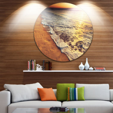 Design Art Foaming Waves at Sea Sunset Beach MetalCircle Wall Art