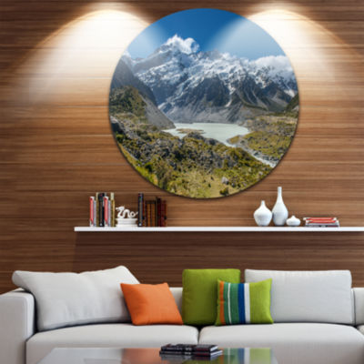 Design Art Green and White Mountains New Zealand Landscape Metal Circle Wall Art