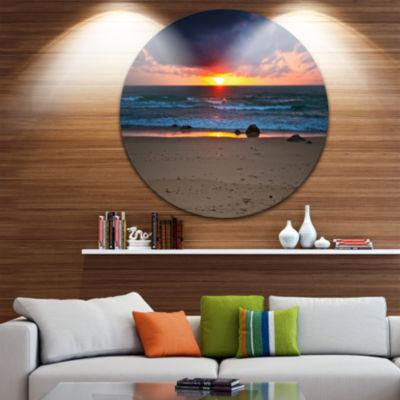 Design Art Dramatic Colorful Sky Over Beach LargeSeashore Metal Circle Wall Art