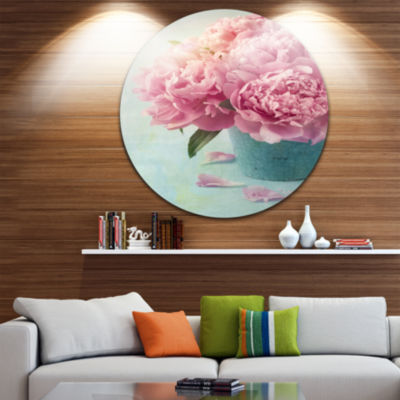 Design Art Pink Peony Flowers in Vase Ultra GlossyFloral Metal Circle Wall Art