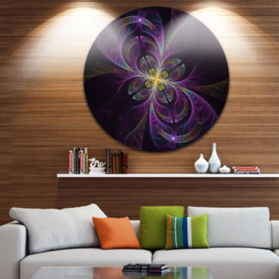 Design Art Purple Abstract Floral Shapes Large Floral Metal Circle Wall Art