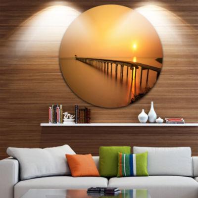 Design Art Old Wooden Pier Long to Evening Sea Pier Seascape Metal Circle Wall Art