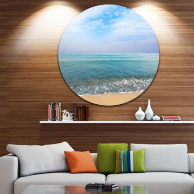 Design Art Blue Sky Sand Sun Daylight Large Seashore Metal Circle Wall Art
