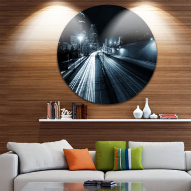 Design Art Illuminated Traffic Trail in Downtown Seattle Cityscape Circle Metal Wall Art