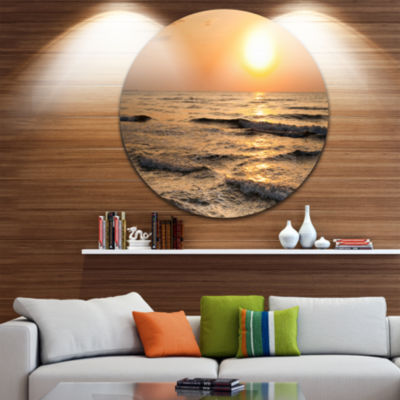 Design Art Typical Sunrise with Tranquil Waves Seascape Metal Circle Wall Art