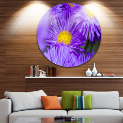 Design Art Bunch of Large Violet Flowers Large Flower Metal Circle Wall Art